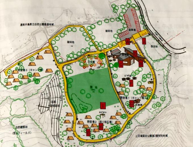 表浜ほうべの森キャンプ場サイト地図
