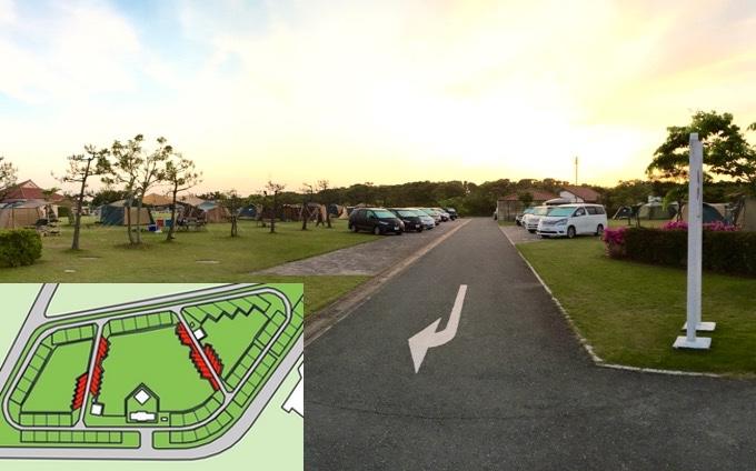 竜洋海洋公園オートキャンプ場 フリーサイト駐車場