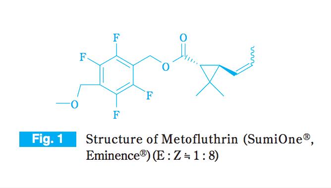 住友化学が開発したメトフルトリンは家庭用殺虫剤にもよく使われている成分。