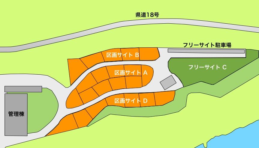 スノーピークおち仁淀川キャンプフィールド区画サイトマップ