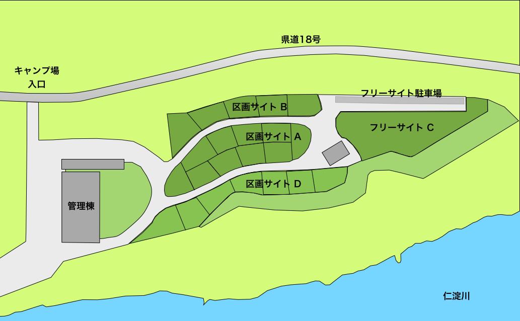 スノーピークおち仁淀川キャンプフィールドサイトマップ