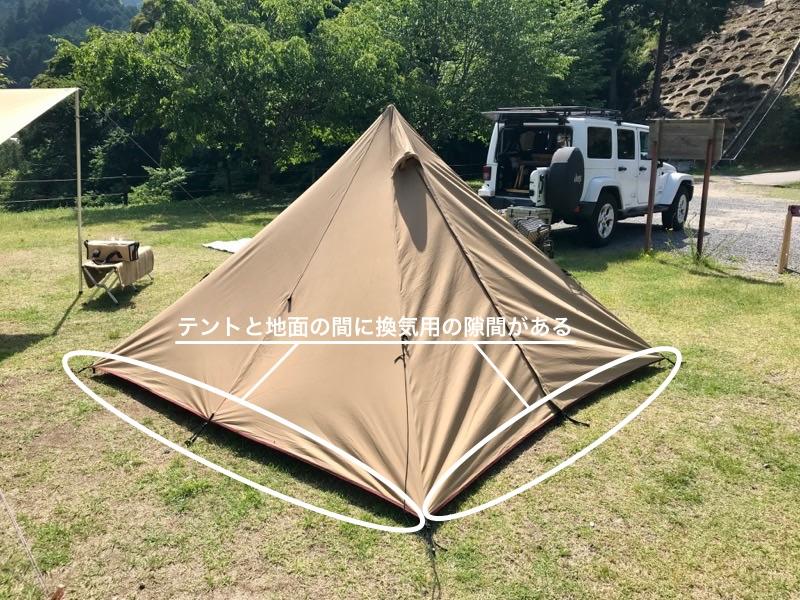 パンダTC テントと地面の隙間
