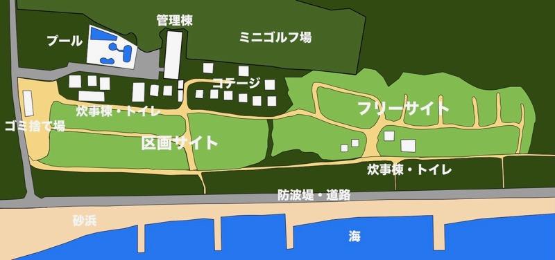 ムーンビーチキャンプ場マップ