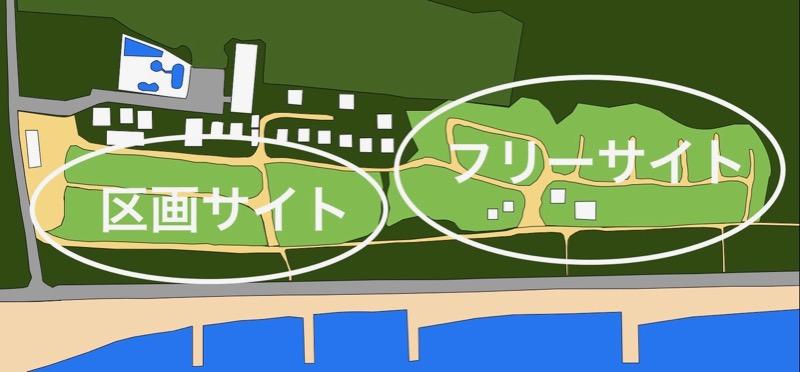 大淀西海岸ムーンビーチキャンプ場 サイト地図