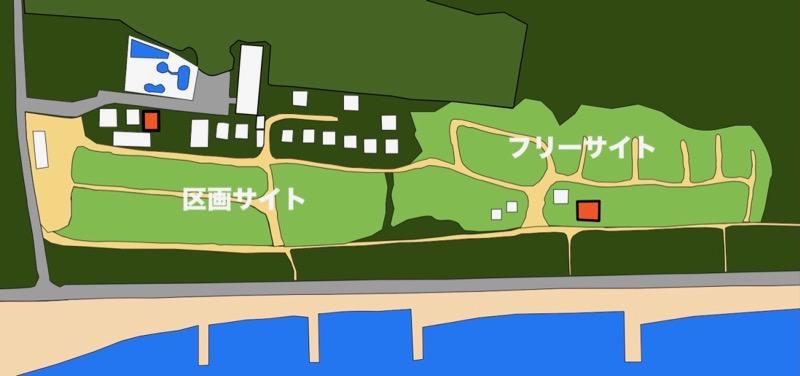 大淀西海岸ムーンビーチキャンプ場 シャワー更衣室の地図