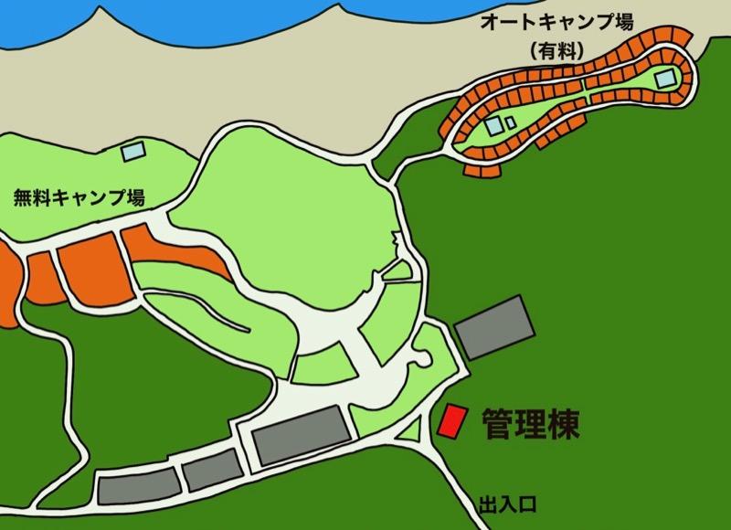 石見海浜公園キャンプ場サイトマップ