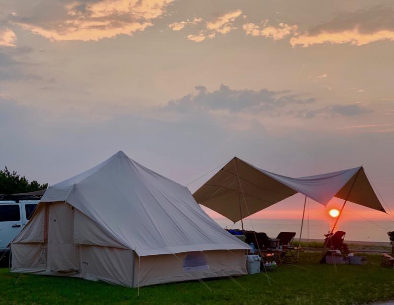 石見海浜公園キャンプ場の夕陽