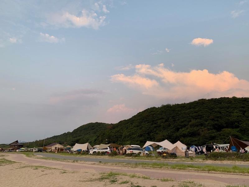夕方の石見海浜公園キャンプ場