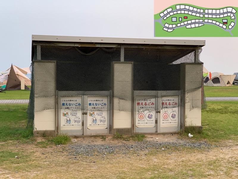 石見海浜公園キャンプ場 ゴミ捨て場