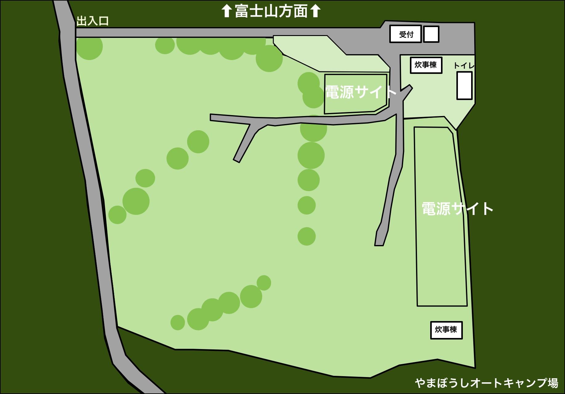 やまぼうしオートキャンプ場 サイト地図