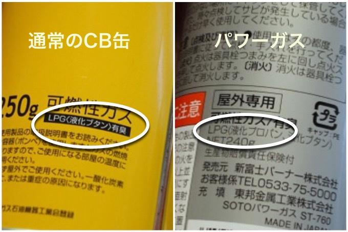 CB缶とパワーガス缶