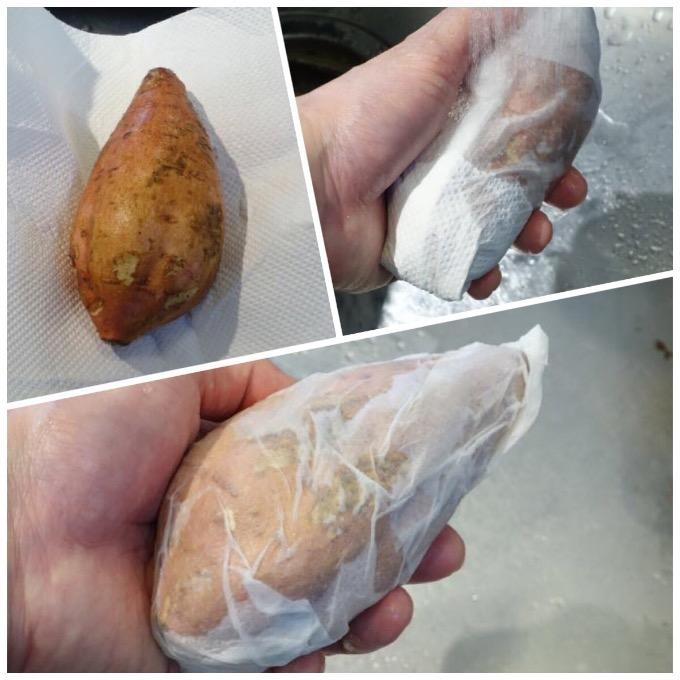 焼き芋ペーパータオルで巻く