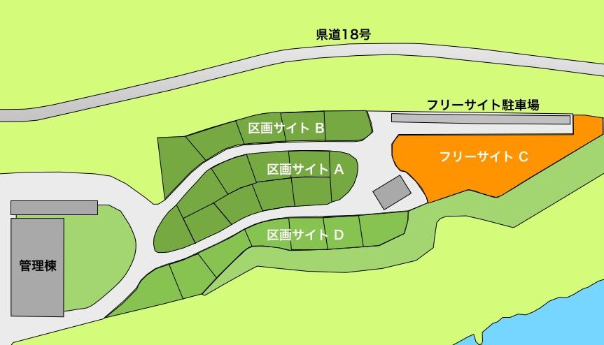 スノーピークおち仁淀川キャンプフィールドフリーサイトマップ