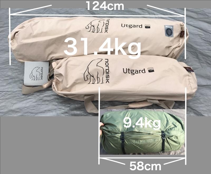 ウトガルドとバランゲルドーム収納袋比較
