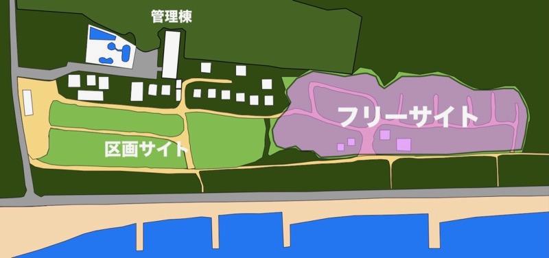 大淀西海岸ムーンビーチキャンプ場 フリーサイト地図
