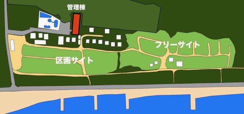 大淀西海岸ムーンビーチキャンプ場 お風呂の地図