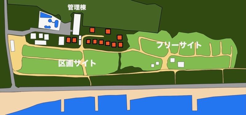 大淀西海岸ムーンビーチキャンプ場 コテージ、バンガロー地図