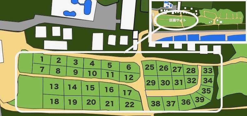 大淀西海岸ムーンビーチキャンプ場 区画サイトマップ
