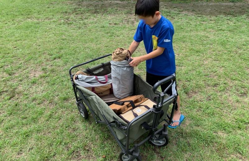 テントファクトリーキャリーワゴンはキャンプ場では荷物置き場として使える