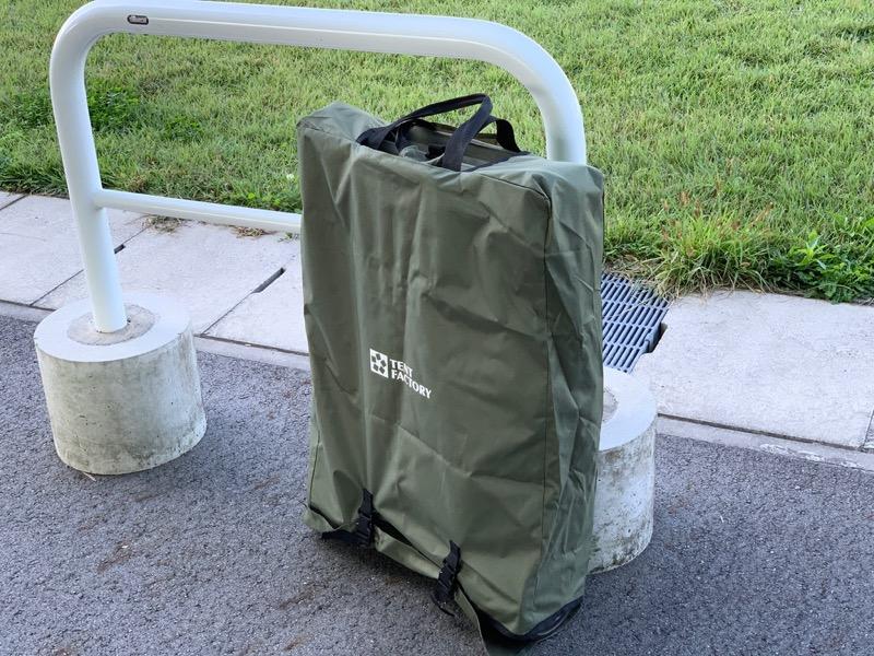 テントファクトリーキャリーワゴン収納バッグに入れると自立しない