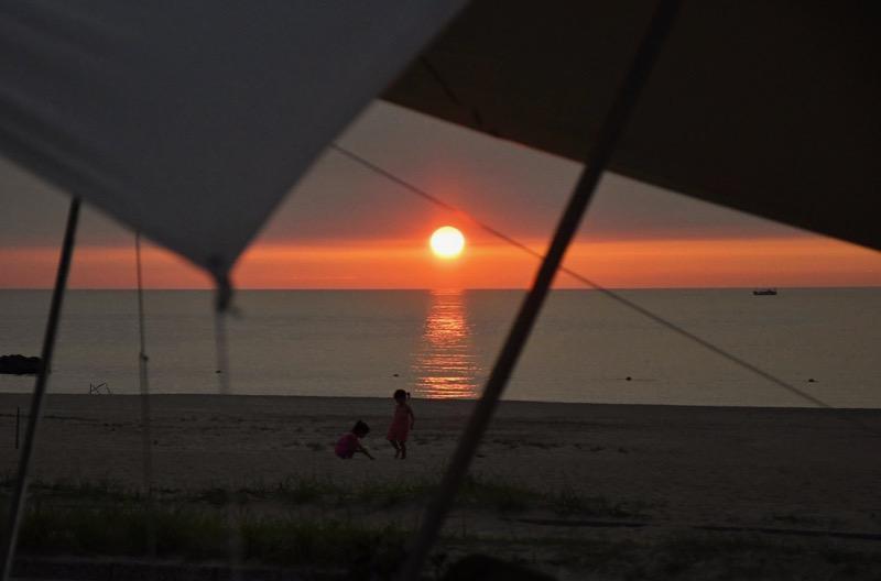 石見海浜公園キャンプ場の夕日