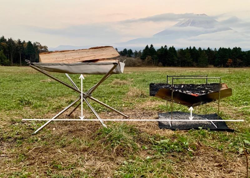 ピコグリル398は薪を置くプレートが地面に近い