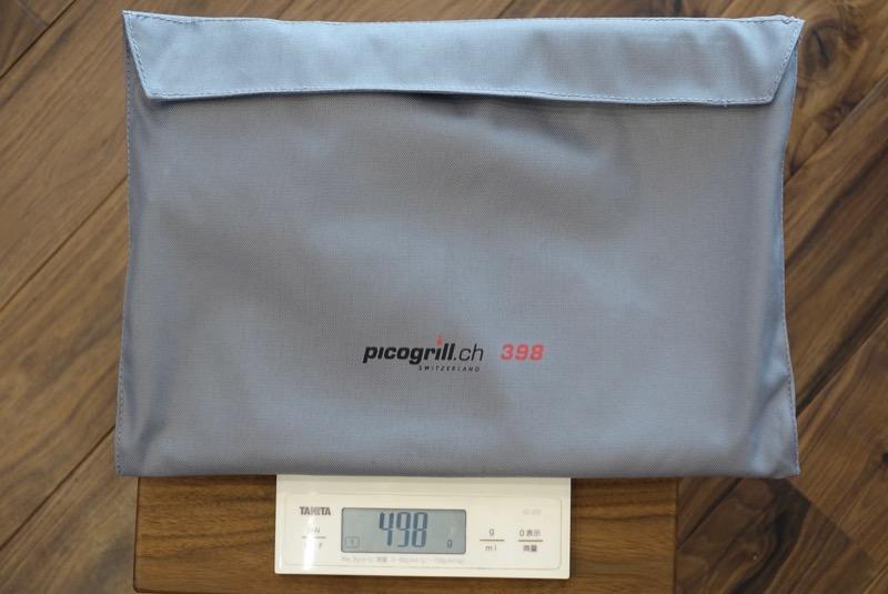 収納ケースに入れた全体の重さも498グラムのピコグリル398