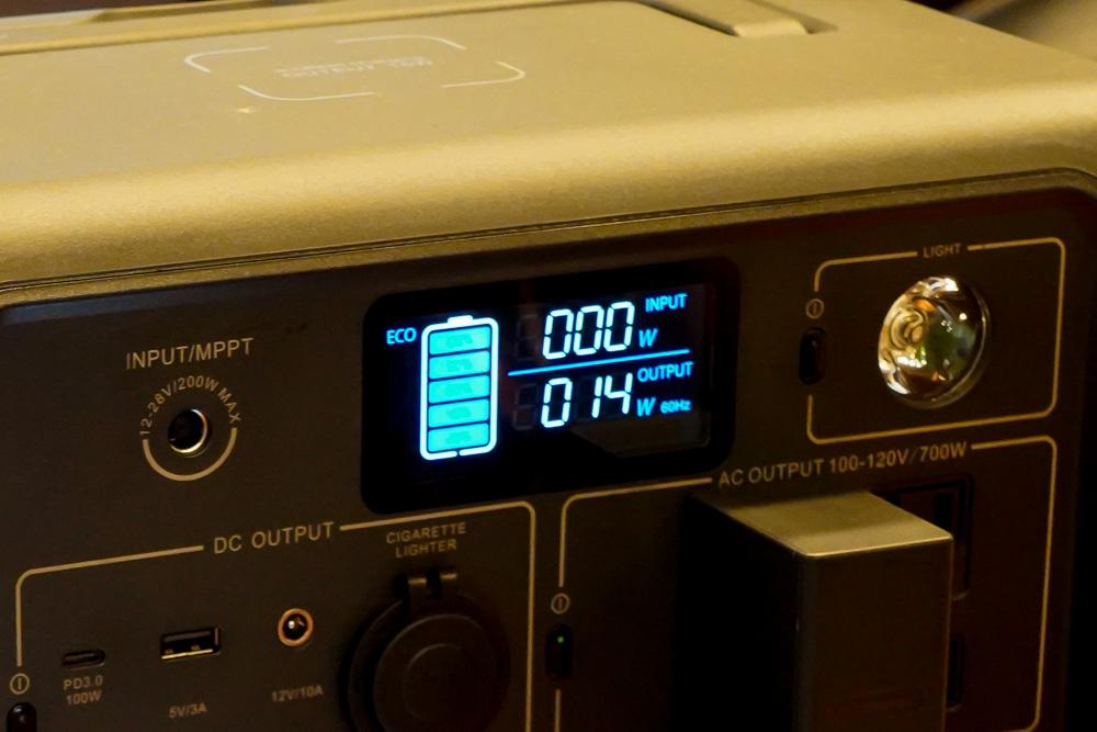 ポータブル電源 BLUETTI(ブルーティ) EB70の画面表示
